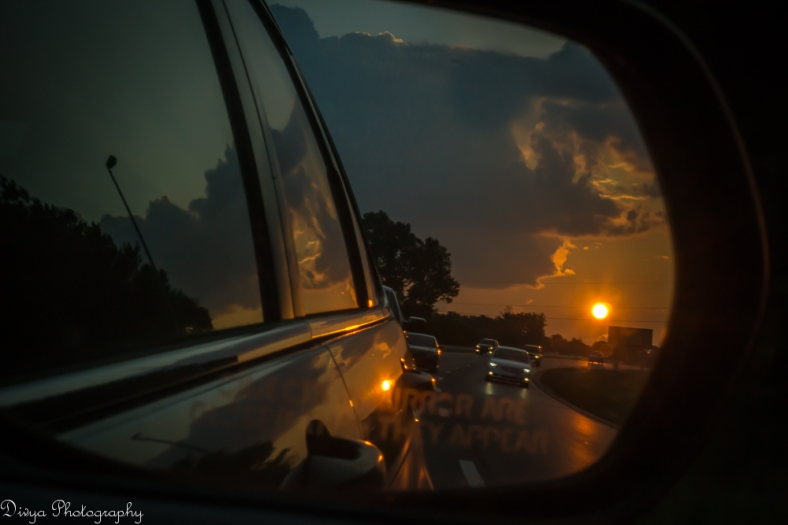 Sunset-view-in-Sideview-Mirror- S in A-Z Photography Challenge